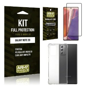 Kit Full Protection Galaxy Note 20 Película de Vidro 3D + Capa Anti Impacto - Armyshield