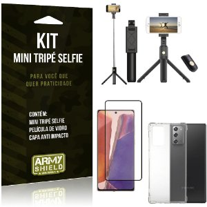 "Kit Mini Tripé Selfie Bluetooth para Galaxy Note 20 6,7"" + Capa + Película 3D"