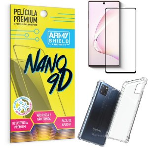 Kit Película Premium Nano 9D para Galaxy Note 10 Lite + Capa Anti Impacto - Armyshield