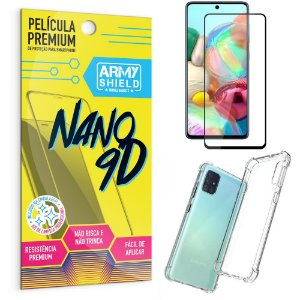 Kit Película Premium Nano 9D para Galaxy A71 + Capa Anti Impacto - Armyshield