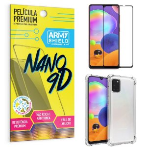 Kit Película Premium Nano 9D para Galaxy A31 + Capa Anti Impacto - Armyshield
