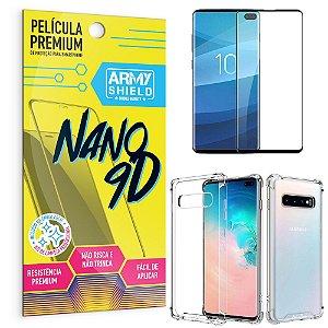 Kit Película Premium Nano 9D para Galaxy S10 Plus + Capa Anti Impacto - Armyshield