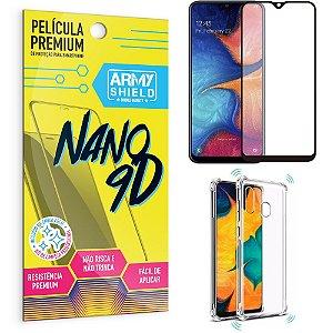 Kit Película Premium Nano 9D para Galaxy A20 + Capa Anti Impacto - Armyshield