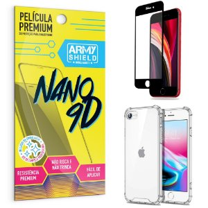 Kit Película Premium Nano 9D para iPhone SE 2020 4.7 + Capa Anti Impacto - Armyshield