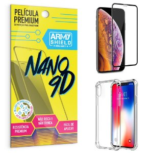Kit Película Premium Nano 9D para iPhone XS 5.8 + Capa Anti Impacto - Armyshield