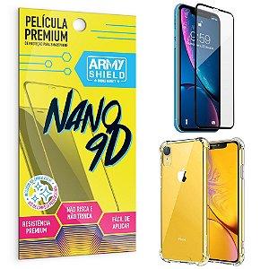 Kit Película Premium Nano 9D para iPhone XR 6.1 + Capa Anti Impacto - Armyshield