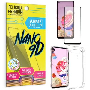 Kit Película Premium Nano 9D para LG K51s + Capa Anti Impacto - Armyshield