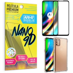 Kit Película Premium Nano 9D para Moto G9 Plus + Capa Anti Impacto - Armyshield
