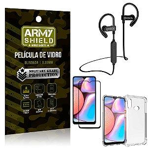 Kit Fone Bluetooth Hrebos HS188 Galaxy A10s + Película 3D + Capa Anti Impacto - Armyshield