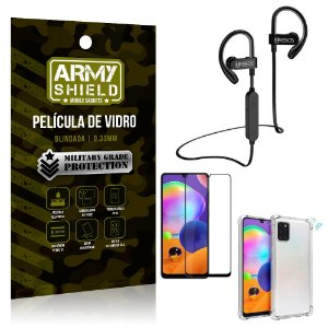 Kit Fone Bluetooth Hrebos HS188 Galaxy A31 + Película 3D + Capa Anti Impacto - Armyshield