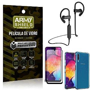 Kit Fone Bluetooth Hrebos HS188 Galaxy A50 + Película 3D + Capa Anti Impacto - Armyshield