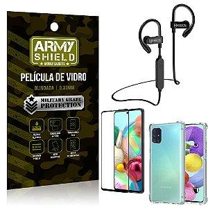 Kit Fone Bluetooth Hrebos HS188 Galaxy A71 + Película 3D + Capa Anti Impacto - Armyshield