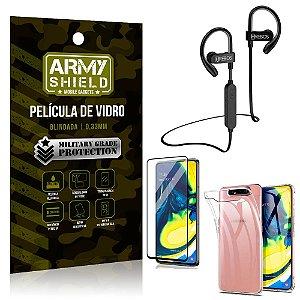 Kit Fone Bluetooth Hrebos HS188 Galaxy A80 + Película 3D + Capa Anti Impacto - Armyshield