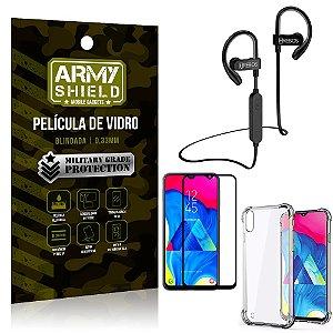 Kit Fone Bluetooth Hrebos HS188 Galaxy M10 + Película 3D + Capa Anti Impacto - Armyshield