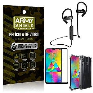 Kit Fone Bluetooth Hrebos HS188 Galaxy M20 + Película 3D + Capa Anti Impacto - Armyshield