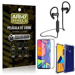 Kit Fone Bluetooth Hrebos HS188 Galaxy M21s + Película 3D + Capa Anti Impacto - Armyshield