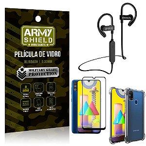 Kit Fone Bluetooth Hrebos HS188 Galaxy M31 + Película 3D + Capa Anti Impacto - Armyshield