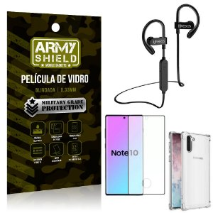 Kit Fone Bluetooth Hrebos HS188 Galaxy Note 10 + Película 3D + Capa Anti Impacto - Armyshield
