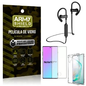 Kit Fone Bluetooth Hrebos HS188 Galaxy Note 10 Plus + Película 3D + Capa Anti Impacto - Armyshield