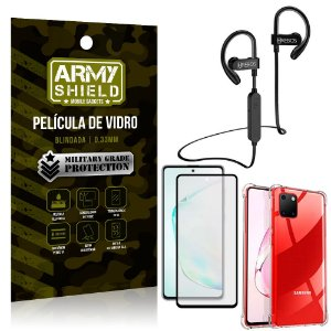 Kit Fone Bluetooth Hrebos HS188 Galaxy Note 10 Lite + Película 3D + Capa Anti Impacto - Armyshield