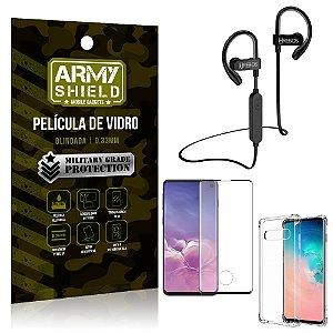 Kit Fone Bluetooth Hrebos HS188 Galaxy S10 + Película 3D + Capa Anti Impacto - Armyshield