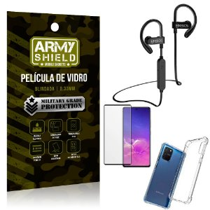 Kit Fone Bluetooth Hrebos HS188 Galaxy S10 Lite + Película 3D + Capa Anti Impacto - Armyshield