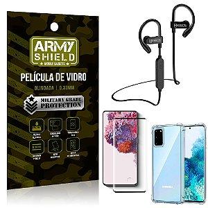 Kit Fone Bluetooth Hrebos HS188 Galaxy S20 + Película 3D + Capa Anti Impacto - Armyshield