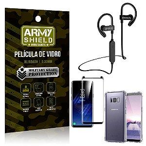 Kit Fone Bluetooth Hrebos HS188 Galaxy S8 + Película 3D + Capa Anti Impacto - Armyshield