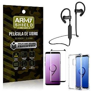 Kit Fone Bluetooth Hrebos HS188 Galaxy S9 + Película 3D + Capa Anti Impacto - Armyshield