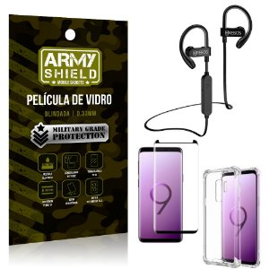 Kit Fone Bluetooth Hrebos HS188 Galaxy S9 Plus + Película 3D + Capa Anti Impacto - Armyshield