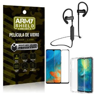 Kit Fone Bluetooth Hrebos HS188 Huawei P30 + Película 3D + Capa Anti Impacto - Armyshield