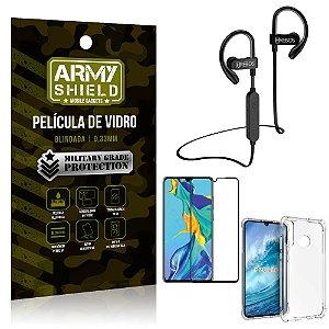 Kit Fone Bluetooth Hrebos HS188 Huawei P30 Lite + Película 3D + Capa Anti Impacto - Armyshield