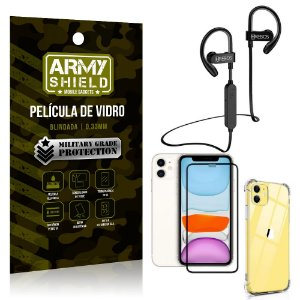 Kit Fone Bluetooth Hrebos HS188 iPhone 11 6.1 + Película 3D + Capa Anti Impacto - Armyshield