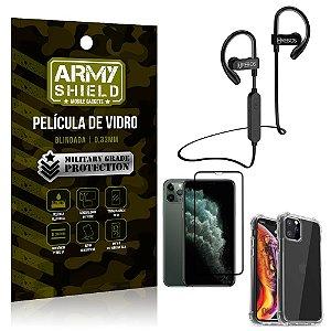 Kit Fone Bluetooth Hrebos HS188 iPhone 11 Pro 5.8 + Película 3D + Capa Anti Impacto - Armyshield