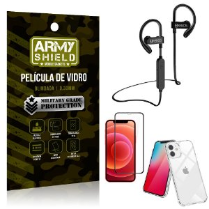 Kit Fone Bluetooth Hrebos HS188 iPhone 12 6.1 + Película 3D + Capa Anti Impacto - Armyshield