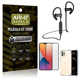 Kit Fone Bluetooth Hrebos HS188 iPhone 12 Pro Max 6.7 + Película 3D + Capa Anti Impacto - Armyshield