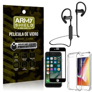 Kit Fone Bluetooth Hrebos HS188 iPhone 7 Plus + Película 3D + Capa Anti Impacto - Armyshield