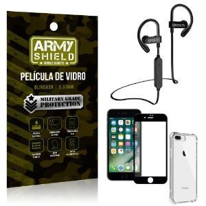 Kit Fone Bluetooth Hrebos HS188 iPhone 8 Plus + Película 3D + Capa Anti Impacto - Armyshield