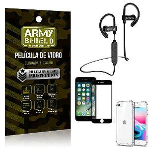 Kit Fone Bluetooth Hrebos HS188 iPhone SE 2020 + Película 3D + Capa Anti Impacto - Armyshield
