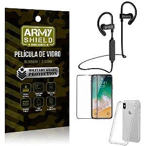 Kit Fone Bluetooth Hrebos HS188 iPhone X + Película 3D + Capa Anti Impacto - Armyshield
