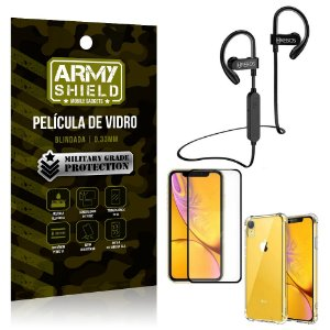 Kit Fone Bluetooth Hrebos HS188 iPhone XR 6.1 + Película 3D + Capa Anti Impacto - Armyshield