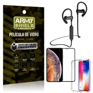 Kit Fone Bluetooth Hrebos HS188 iPhone XS 5.8 + Película 3D + Capa Anti Impacto - Armyshield