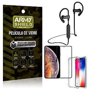 Kit Fone Bluetooth Hrebos HS188 iPhone XS Max 6.5 + Película 3D + Capa Anti Impacto - Armyshield