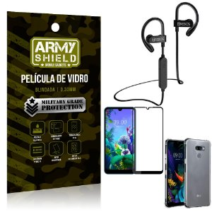 Kit Fone Bluetooth Hrebos HS188 LG K12 Max + Película 3D + Capa Anti Impacto - Armyshield