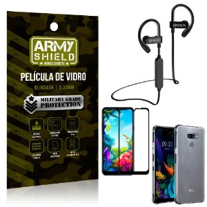 Kit Fone Bluetooth Hrebos HS188 LG K40s + Película 3D + Capa Anti Impacto - Armyshield