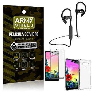 Kit Fone Bluetooth Hrebos HS188 LG K50s + Película 3D + Capa Anti Impacto - Armyshield