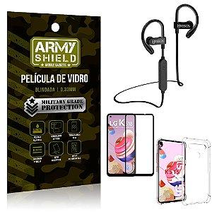 Kit Fone Bluetooth Hrebos HS188 LG K51s + Película 3D + Capa Anti Impacto - Armyshield