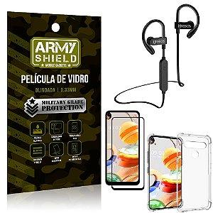 Kit Fone Bluetooth Hrebos HS188 LG K61 + Película 3D + Capa Anti Impacto - Armyshield