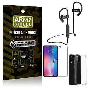 Kit Fone Bluetooth Hrebos HS188 Mi 9 + Película 3D + Capa Anti Impacto - Armyshield