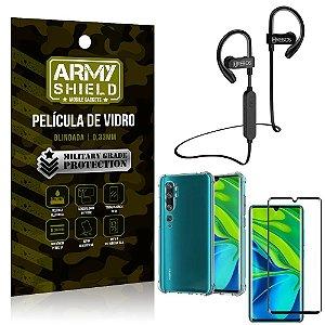 Kit Fone Bluetooth HS188 Mi Note 10 - Note 10 Pro + Película 3D + Capa Anti Impacto - Armyshield